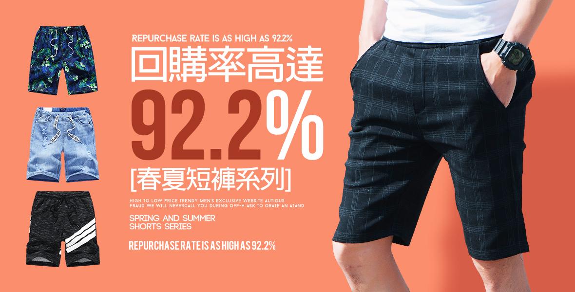 回購率高達92.2% 春夏短褲系列